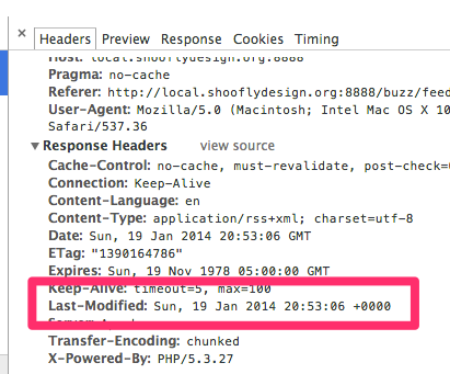 Last-Modified header shown in the Chrome Web Inspector