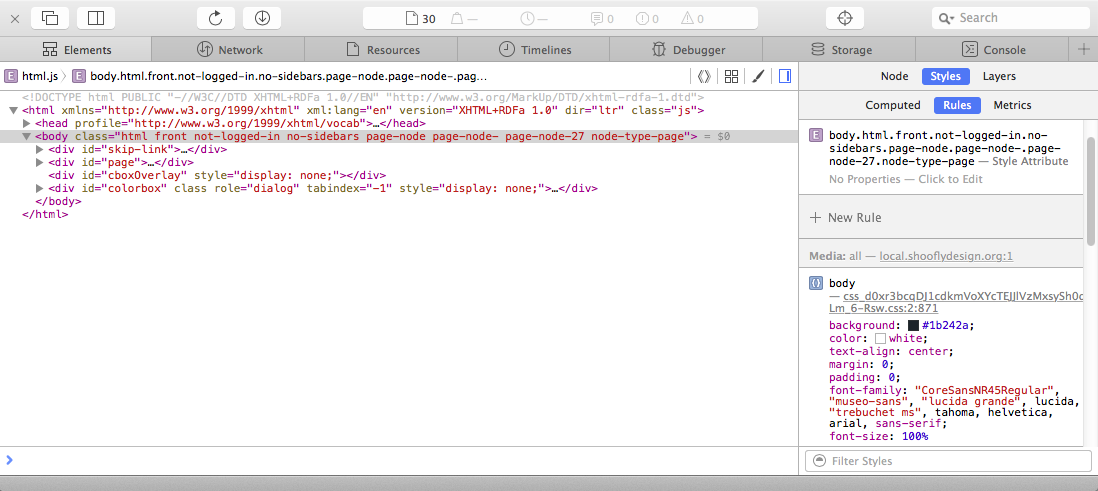 The web inspector in Safari 9